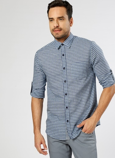 Limon Company Kareli Uzun Kollu Gömlek Mavi